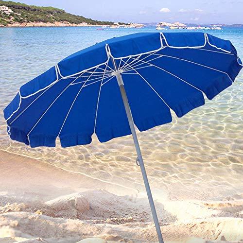 BAKAJI Ombrellone da Mare Spiaggia Giardino con Palo in Acciaio Struttura a 16 Stecche e Rivestimento in Tessuto Polycotton Anti UV Diametro 220 cm Colore Blu