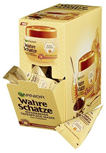 Garnier Wahre Schätze Tiefenpflege-Maske Honig Schätze Kur-Kissen, kräftigt, schützt und nährt strapaziertes und brüchiges Haar, 6er-Pack (6 x 20 ml)