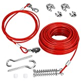 welltop Dog Tie Out Cable, 100 ft Heavy Duty Dog Aerial Run Cable with 10ft Pulley Runner Line for Dogs Up to 125lbs, Outdoor, Yard and Camping Running, Red