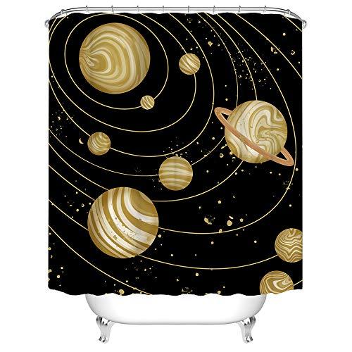 Planeten-Duschvorhang Sonnensystem Badezimmervorhang Universum Badvorhang kosmischer Stoff Duschvorhang für Badezimmer Dekor mit Haken 183,9 x 183,9 cm, Erdton & Schwarz