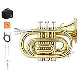 Eastar ETR-330 ポケットトランペット Bb調 Pocket Trumpet 初心者セット (ゴールドブラス)