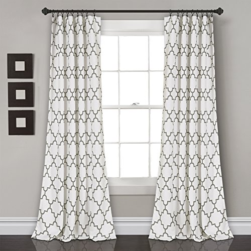 "Lush Decor Bellagio Room Darkening Curtains-Trellis Geometric Design Window Panel Drapes Set for Living, Dining, Bedroom (Pair), 84"" x 52"", Gray"