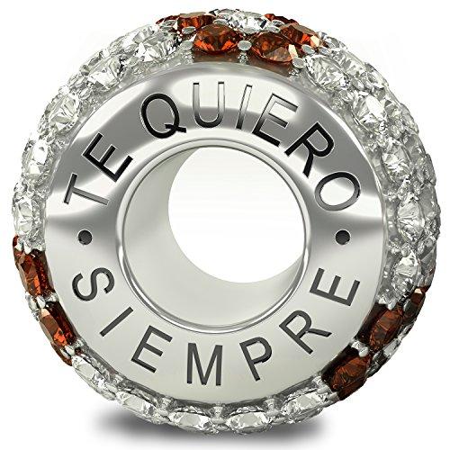 La Colección Real - Te Quiero Siempre 925 Plata de Ley Charm Abalorio Cuenta con Cristales Austriacos compatible con Pandora o pulsera similar de 3mm