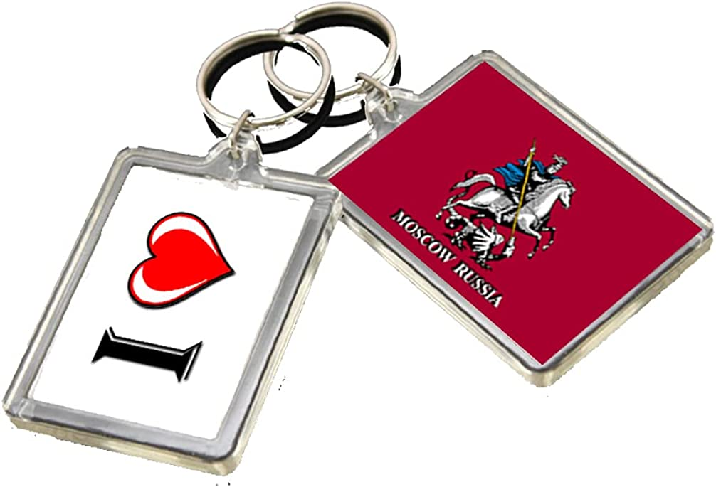 A081 MOSCOW FLAG KEYRING I HEART CITY OF RUSSIA KEYCHAIN