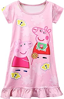 d16c1051e LELEMO Cute Girl Peppa Pig Short Sleeve Dress 3Y - 8Y Pink