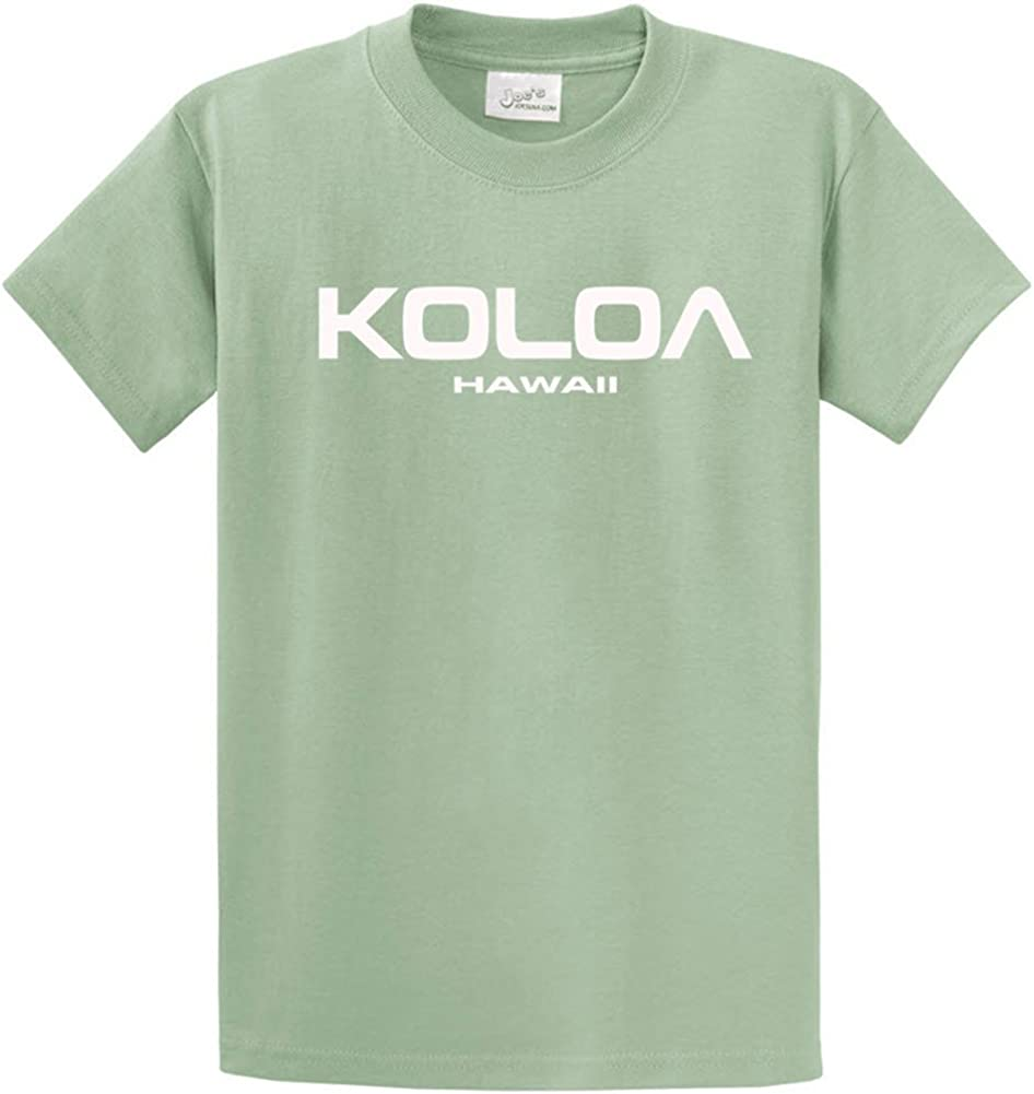 Joe's USA Koloa/Hawaii Text Logo T-Shirts in Size Large Tall - LT StoneGreen
