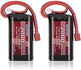 AWANFI 2S Li-Ion Batería 7.4V 2000mAh Paquete de batería RC con Deans Plug para RC Car RC Avión Helicóptero Barco Hobby (2 pc)