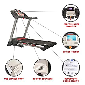 Sunny Health & Fitness Electric Folding Treadmill with LCD and Pulse Monitor, 265 LB Max Weight, Tablet Holder, Bluetooth Speakers and USB Charging - SF-T7917,Black