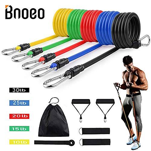 Bnoeo Übung Widerstand Bands Set, Fitness-Stretch-Trainingsbänder 11PC mit Fitness-Röhrchen, Schaumstoffgriffe,Knöchelriemen, Türanker für Fitness Fitnessstudio,Physiotherapie, Kraft-bis zu 150 Pfund