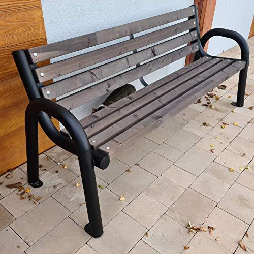Gartenbank Parkbank Holzbank Massiv Sitzbank Garten Balkon Bank Holz Metall Wetterfest Gartenmöbel Stabil Eigenmontage Einfach und Schnell