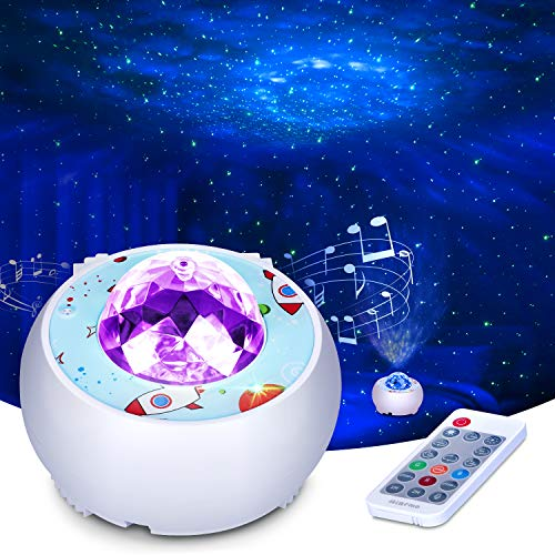 Riarmo Galaxy Star Projector, [2021 Upgraded] Night Light Projector with Music Speaker & Remote Control for Bedroom/Party/Home Decor, Starry Projector with Voice Control and Timer for Adults
