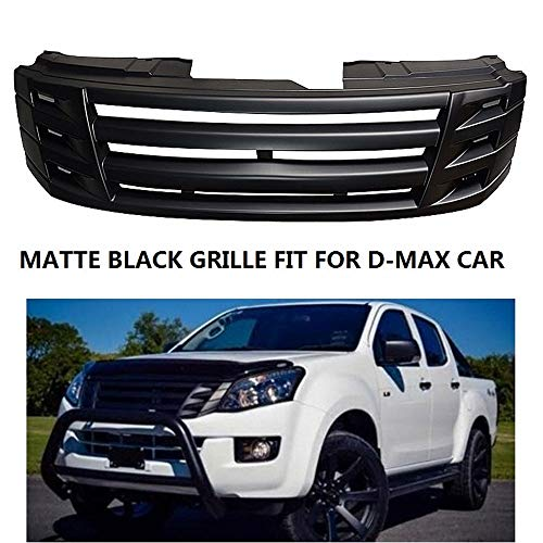 QQKLP Matte Black Front Racing Grill Grille ABS Front Borte Ersatz Grills Raptor Fit für Isuzu D-MAX Dmax 2012 2013 2014 2015