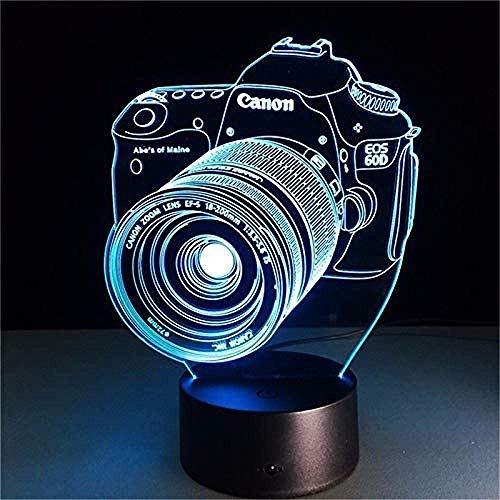 Nachtlampje 3D-slaaplamp nachtlampje originele camera actie afbeelding 7 kleuren touch optische illusie tafellamp Home Decoration Model