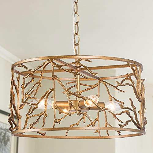 "Durent Lighting Antique Copper Drum Chandelier, 4-Light Vintage Round Pendant Light Fixture, Dia 15.5"" Ceiling Hanging Light with Adjustable Chain for Dining & Living Room, Bedroom, Foyer, Kitchen"