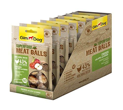 GimDog Superfood Meat Balls Hühnchen - Mono-Protein Hundeleckerli mit hohem Fleischanteil - 8 Beutel (8 x 70 g)