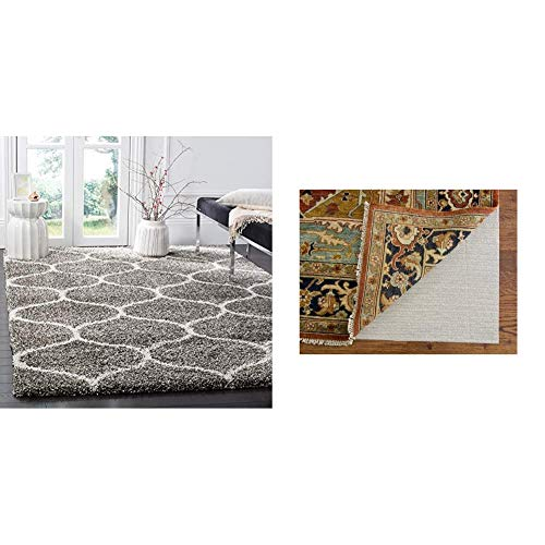 Safavieh Hudson Shag Collection SGH280B Moroccan Ogee Plush Area Rug, 8' x 10', Grey/Ivory & Padding Collection PAD121 White Area Rug, 8 feet by 10 feet (8' x 10')