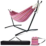 Zupapa Hammock and Stand Set, Heavy Duty Portable Combo for Indoor Bedroom Outdoor Backyard 10ft Double Hammock Stand 2 Person Frame 550LBS Capacity, Storage Bag Included, Mojito