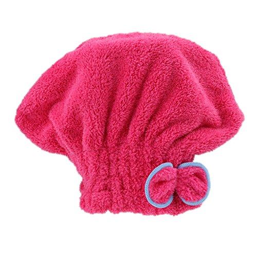 Amuzocity Mignon Bowknot Ultra Absorbant Bain De Coiffes à Séchage Rapide - Rose Rouge