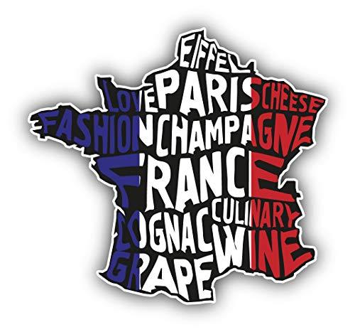 Frankrijk Kaart Vlag Slogan - Zelfklevende Sticker Auto Venster Bumper Vinyl Decal