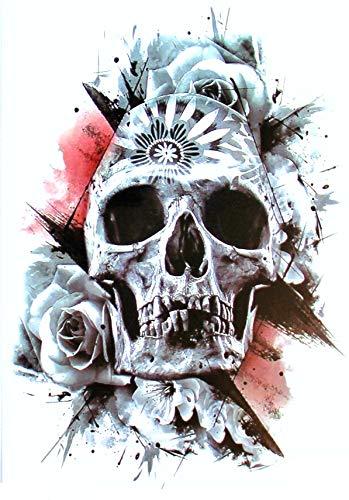 EROSPA® Tattoo-Bogen temporär - Totenkopf Schädel Rosen