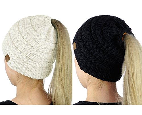 C.C BeanieTail Soft Stretch Cable Knit Messy High Bun Ponytail Beanie Hat, 2 Pack, Black/Ivory