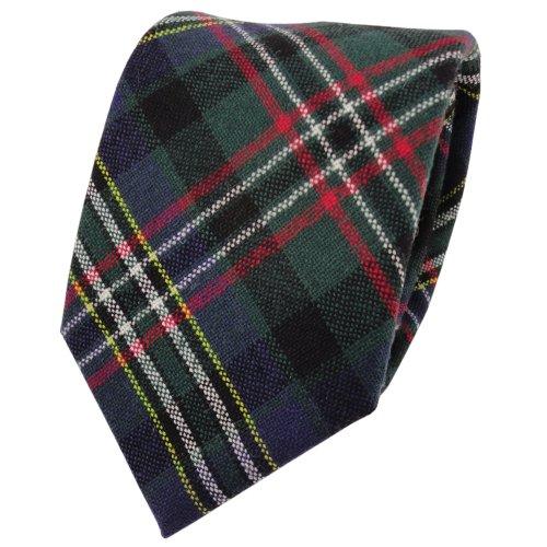 ohne Markenname Designer Wollkrawatte grün blau rot creme gelb kariert - Krawatte Wolle wool