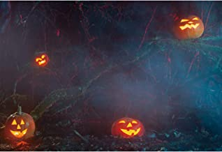 Haoyiyi 7x5ft Halloween Nightmare Themed Backdrop Pumpkin Lamps Grimace Background Twisted Trees Photography Boys Girls Kids Portrait Decorations Photo Booth Shoot Photographers Props