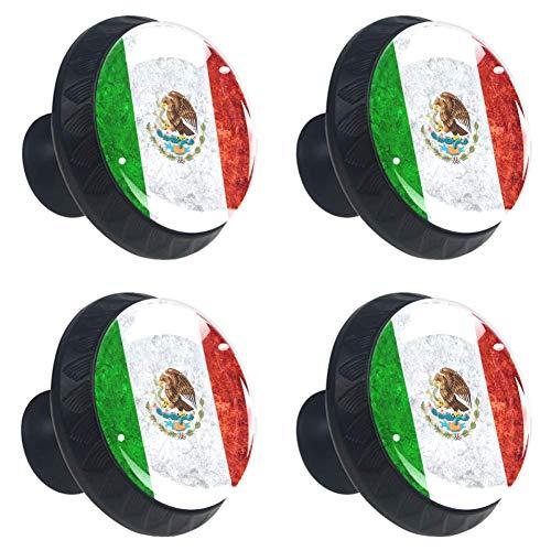 Vrolijk Kerstfeest RendierRonde Keukenkast Knoppen, Dressoir Lade Knoppen, Paddestoel Badkamer Kabinet 3.5×2.8CM/1.38×1.10IN Mexicaanse Banner Vlag op Vintage