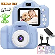 Kids Camera, 8.0 MP FHD Digital Video Recorder Shockproof Action Cameras with 2 Inch IPS Screen and 32GB SD Card for Girls Boys Gifts