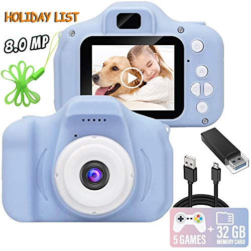 Kids Camera, 8.0 MP FHD Digital Video Recorder Shockproof Action Cameras with 2 Inch IPS Screen and 32GB SD Card for Girls Boys Gifts Blue