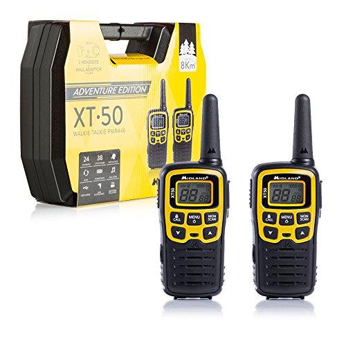 Midland XT50 Adventure PMR-Walkie Talkies kofferset, 2 x krachtige outdoor-radioapparatuur voor kinderen en volwassenen, met LCD-display en micro-USB-oplaadbus