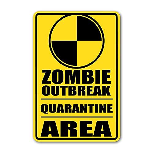 Targa in metallo grande in alluminio latta segno zombie focolaio di quarantena zona giallo cartello stradale porta cartello 12x16 pollici
