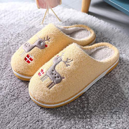 Schuhe Indoor Outdoor,Weihnachtshaus Hausschuhe für Herren Damen Damen,Elch Clogs für Söhne Töchter,rutschfest,warm,atmungsaktiv,Indoor-Schuhe, Gelb_37-38