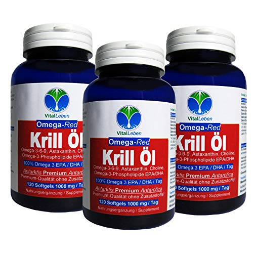 Krillöl ANTARKTIS OMEGA-Red 3x 120 Krilloil Softgels 1000mg/Tag. Omega 3-6-9 EPA/DHA Fettsäuren + Phospholipide + Astaxanthin. OHNE ZUSATZSTOFFE. 26429-3