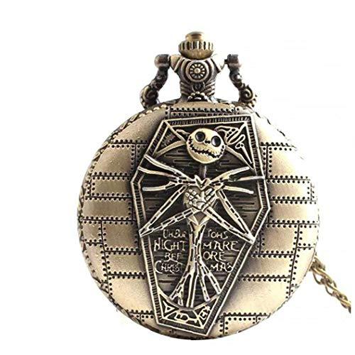 Reloj de Bolsillo Retro cráneo, Regalo Pendiente del Collar, Jack y Sally Pesadilla Antes de Navidad