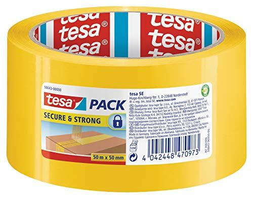 tesa 58643 Secure & Strong - gelbes Paketband mit Siegel-Effekt für einen sicheren Transportweg, 50m:50mm
