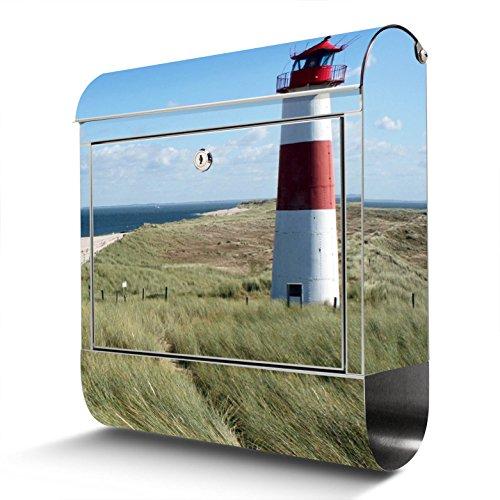 BANJADO Edelstahl Briefkasten mit Zeitungsfach   Design Motivbriefkasten   Briefkasten 38x43x12cm groß   Postkasten mit Montagematerial   2 Schlüssel Motiv Leuchtturm
