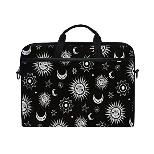 FOURFOOL 15-15.6 inch Laptop Bag,Galaxy Stars and Moon Sun Space Backdrop,New Canvas Print Pattern Briefcase Laptop Shoulder Messenger Handbag Case Sleeve