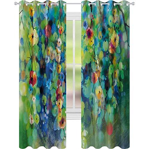 Cortinas de ventana que reducen el ruido, flores de colores vibrantes se agrupan desde rama de primavera, temporada de nacimiento, 52 x 84 cortinas térmicas aisladas para cocina, verde azul
