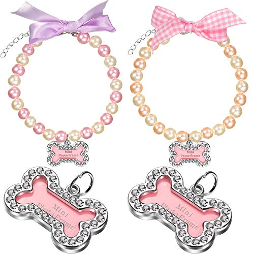 2 Collares de Perlas de Imitación de Perro Gato con Etiquetas de Identificación Collar de Mascotas de Diamantes de Imitación Hecha a Mano Ajustable con Colgante Encanto de Hueso Cinta