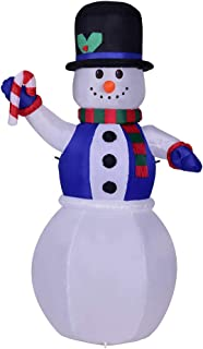 Pumpumly 1.8M Tall LED Illuminated Inflatable Frosty Snowman Costume Indoor Outdoor Holiday Christmas Xmas Party Decoration