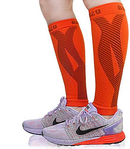 BLITZU Calf Compression Sleeves For Women & Men Leg Compression Socks for Runners, Shin Splint, Recovery from Injury & Pain Relief Great for Running, Maternity, Travel, Nurses Orange L-XL