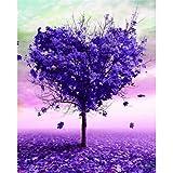 Cadre à colorier par numéro arbre paysage dessin sur toile peinture à l'huile par numéro coeur Kits Arts muraux modernes
