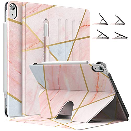 MoKo Case Fit iPad Air 4th Generation 2020 - New iPad Air 4 Case with Pencil Holder [Support Apple Pencil 2 Charging] Protective Cover for iPad 10.9', Multi-Angle Magnetic Stand,Geometric Marble Pink