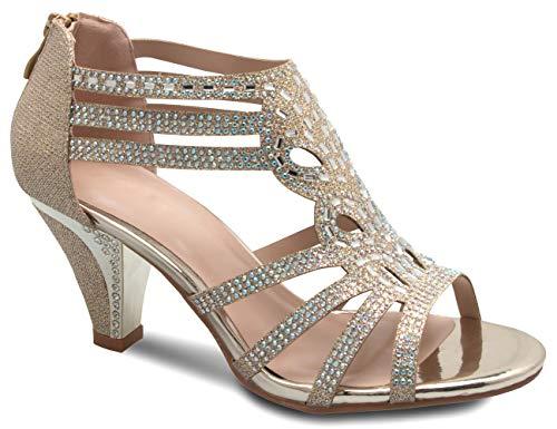 Olivia K Women's Open Toe Strappy Rhinestone Dress Sandal Low Heel Wedding Shoes White Glitter - adorable, comfortable