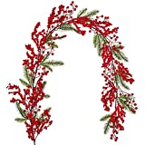 DearHouse 6FT Red Berry Christmas Garland with Spruce Branches Berry Garland, Winter Greenery Garland for Holiday Mantel Fireplace Table Runner Centerpiece New Year Decoration