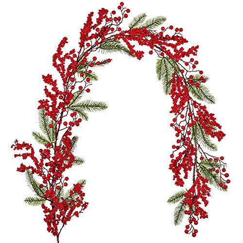 DearHouse 6FT Christmas Garland Artificial Garland Indoor Outdoor Garden Gate Home Decoration Lights for Winter Holiday Decor