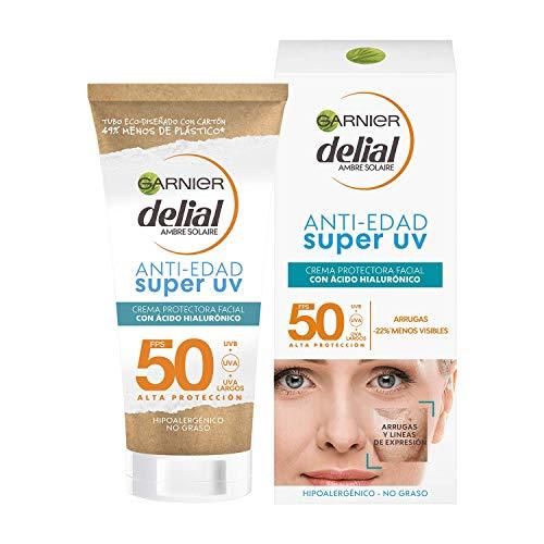 Garnier Delial Crema Protectora Facial Anti Edad con Ácido Hialurónico y SPF 50, Reduce Arrugas y Líneas de Expresión 50ml