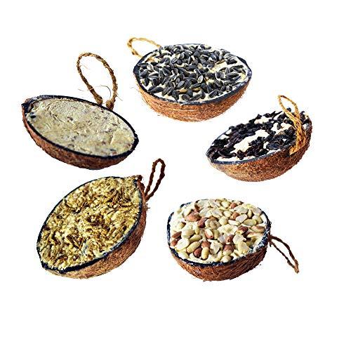 Lyra Pet® 10 Stück halbe Kokosnuss gefüllt Vogelfutter Winter Wildvögel Meisen