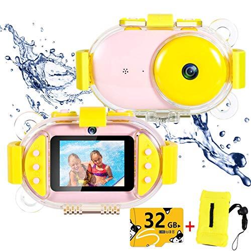 QCHEA Niños cámara submarina, con 2.4inch IPS de la Pantalla 32G de Memoria Delantero y Trasero Recargable Selfie la cámara de vídeo, Regalos de los Muchachos Chicas Creativas